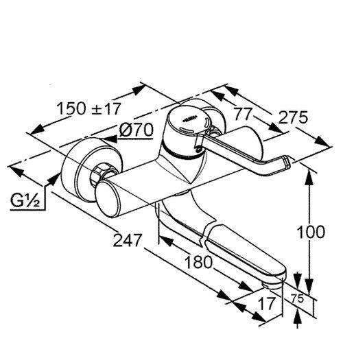 verchromt 335320500 Kludi Waschtisch-Einhebelmischer Provita mit schwenkbarem Auslauf 180 mm ohne Hebel