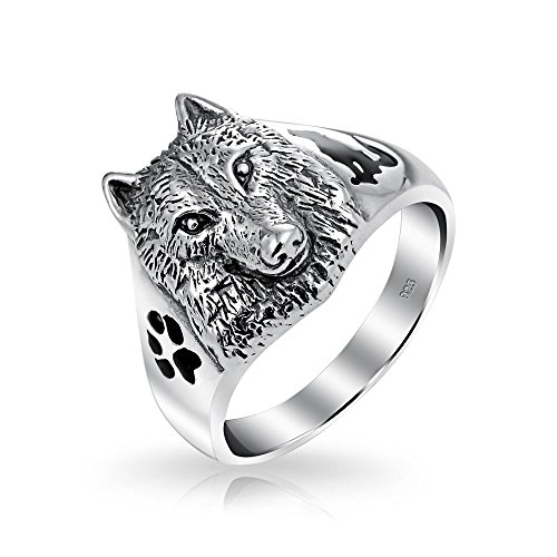 Hunter Animal Paw Print Wolf Signet Ring For Men For Women Oxidized 925 Sterling Silver