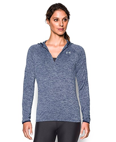 Under Armour Women's Tech Long Sleeve Hooded Henley, Faded Ink/Midnight Navy, Medium
