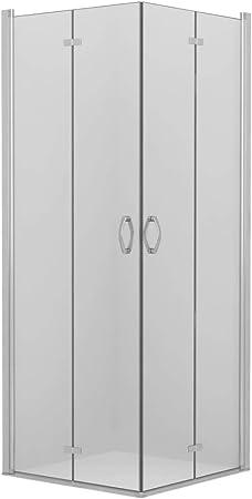 vidaXL Mampara Ducha 2 Puertas Plegable 2 Hojas Pivotantes Vidrio Seguridad Cristal Templado ESG Cromados Cabina Baño Transparente Cierre Plato Bañera: Amazon.es: Hogar