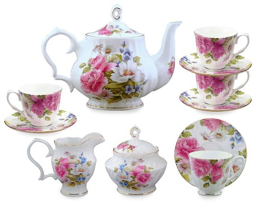 (Gracie Bone China 11-Piece Tea Set, Pink Grace's Rose)