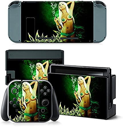FriendlyTomato Nintendo Switch Console and Controller Skin Set - Weed Bikini