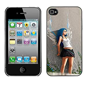 Paccase / SLIM PC / Aliminium Casa Carcasa Funda Case Cover - Cute Angel Girl - Apple Iphone 4 / 4S