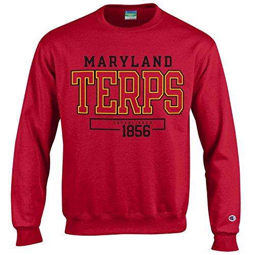 Champion NCAA Men's Long Sleeve Eco Powerblend Sweatshirt Unisex Officially Licensed Crewneck Fleece Maryland Terrapins Medium