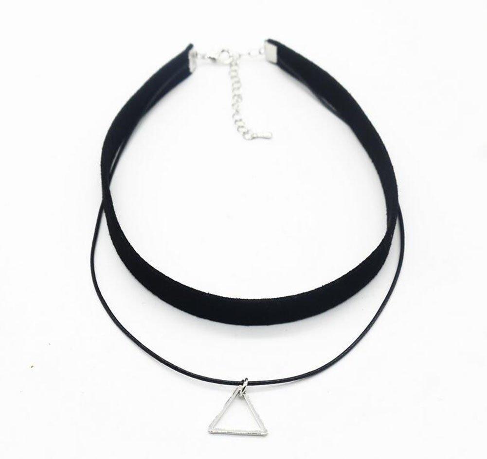 hosaire 4pcs collane choker rr/étro collana girocollo in flanella artificiale Triangolo e rotondo forme geometriche regolabile catena romantico gioielli