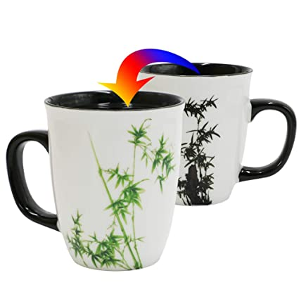 52932cef2fa Asmwo Funny Ceramic Magic Heat Color Changing Coffee Mug with Bamboo  Printing for Women Personalized White