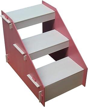 IG Taburete de madera de 3 peldaños para niños, escalera de escalera para mascotas para perros pequeños y gatos para camas altas y sofá,Rosado: Amazon.es: Bricolaje y herramientas