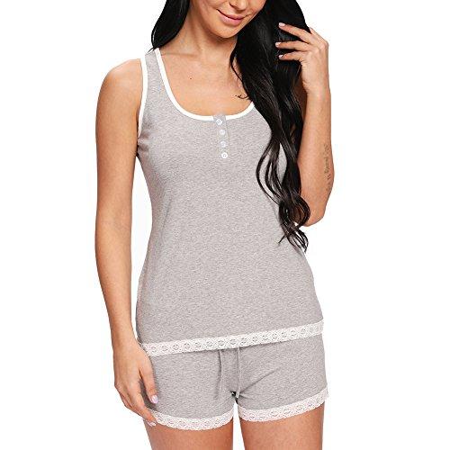 (nine bull Women's Cotton Pajama Tank and Shorts Set Sexy Sleeveless Sleepwear)