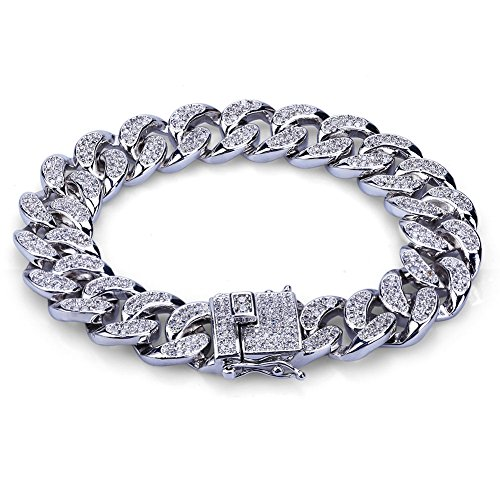 JINAO 14mm Silver Plated All ICED Out Simulated Diamond Miami Cuban Chain Bracelet 7
