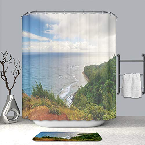 (BEICICI Art Shower Curtain with Doormat Bath Mat Kalalau Trail in Kauai Hawaii Waterproof Polyester Fabric Shower Curtain and Floor Mat Combination Set)