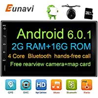 Universal Car Stereo with Bluetooth, Eunavi 7 2 Din In Dash Car GPS Navigation Android 6.0 2G+16G Quad-Core Full Touch-screen Car Radio Wifi Model free camera and map