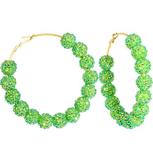 Lime Green Earrings (3 Inch Lime Green Sparkle Ball Hoop Earrings)