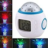 Hangang Color Change Alarm Clock Children Sleep Projection Digital Clock with Starry Sky