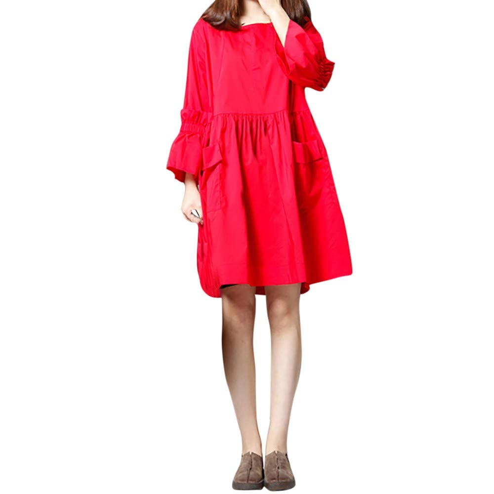 JESPER Women Summer Flare Sleeve Solid Soft Loose Short Dress Long Sleeve with Pocket Red