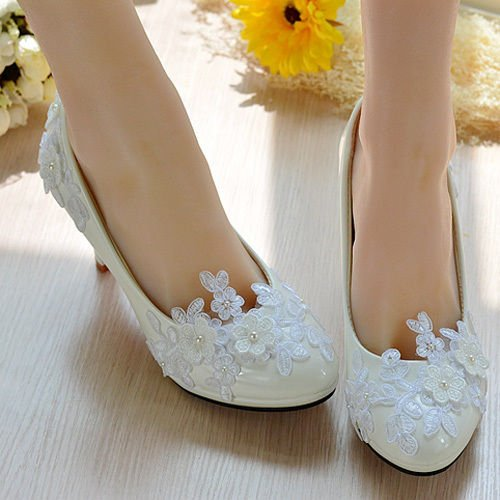 Plataforma de blanco zapatos perla novia JINGXINSTORE de Zapato Zapatos tac de encaje cxqzqfaCwS