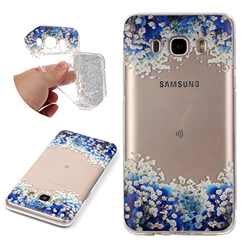 Galaxy J5 2016 Case TPU Silicone Transparent Ultra Thin Design Soft Back Cover with Embossed Pattern Blue Flowers