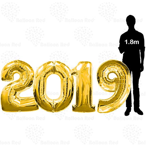 40 Inch 2019 Giant Jumbo Helium Foil Mylar Balloons for New Year Eve Party (Premium Quality), Glossy Gold, 4 Number Balloons 2 0 1 9