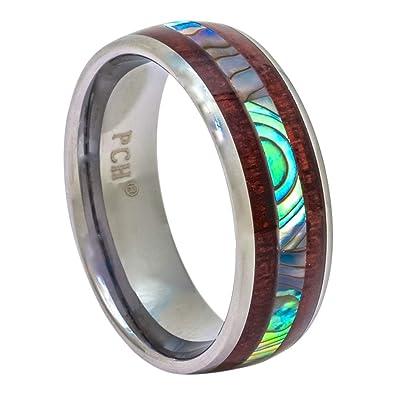 PCH Jewelers Tungsten Ring Hawaiian Koa Wood Abalone 8mm Comfort Fit Band