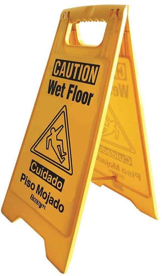 Renown 25 pulgadas. Señal de suelo mojado con texto en ...