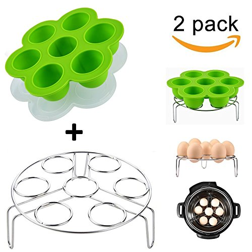 Lakatay One Green Silicone Egg Bites Molds with One Stainless Steel Egg Steamer Rack for Instant Pot Reusable Storage Container ( 2 Pieces ) (Silicone Egg)