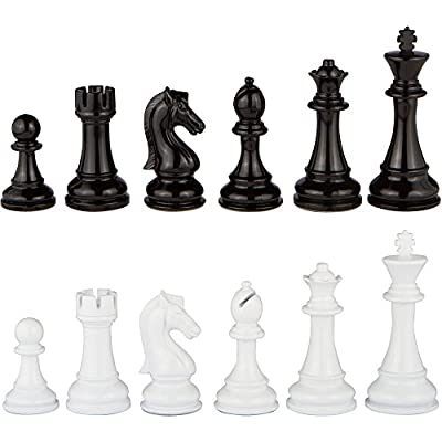 Minerva Black and White Extra Heavy Metal Chess Pieces with Extra Queens – Pieces Only – No Board – 4.5 Inch King (XLarge)