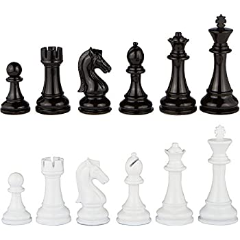 Beau Minerva Black And White Extra Heavy Metal Chess Pieces With Extra Queens U2013  Pieces Only U2013 No Board U2013 4.5 Inch King (XLarge)