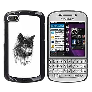 YOYOYO Smartphone Protección Defender Duro Negro Funda Imagen Diseño Carcasa Tapa Case Skin Cover Para BlackBerry Q10 - perro lobo mascota colmillo blanco bosquejo negro