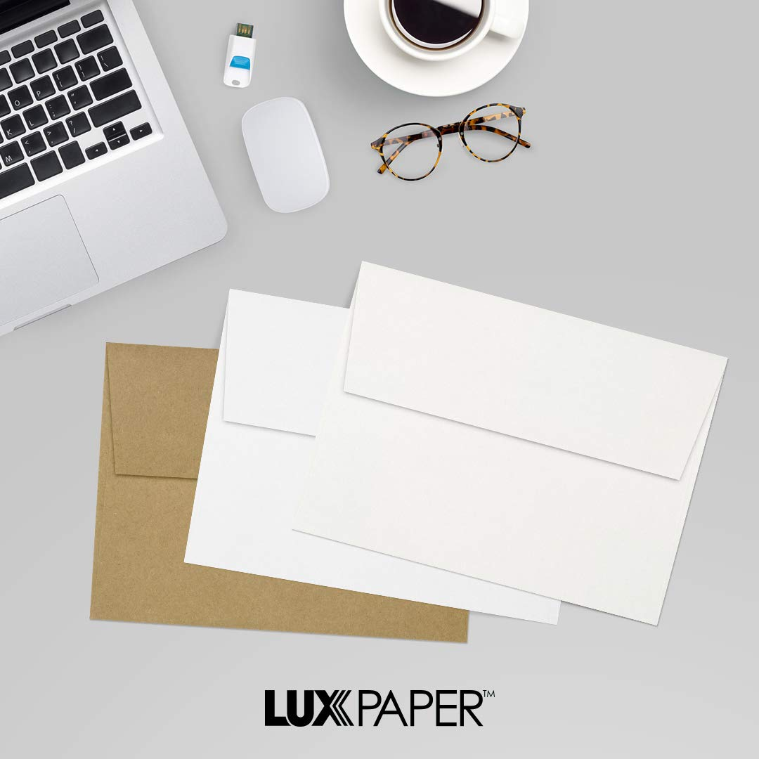 LUXPaper A7 Invitation Envelopes for 5 x 7 Cards in 80 lb. Natural White - 100% Cotton, Printable Envelopes for Invitations, w/Peel and Press Seal, 500 Pack, Envelope Size 5 1/4 x 7 1/4 (White) by Envelopes.com