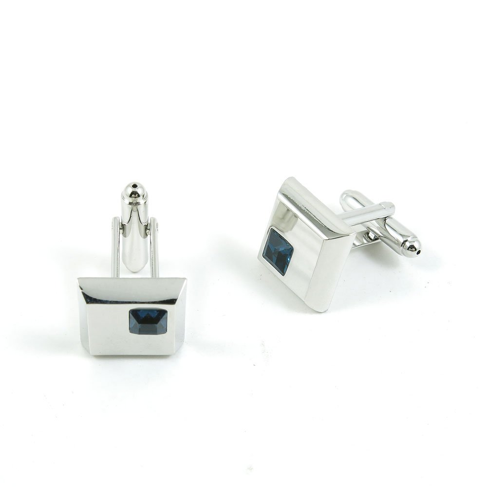 50 Pairs Cufflinks Cuff Links Fashion Mens Boys Jewelry Wedding Party Favors Gift FPO083 Blue Zircon Silver Square