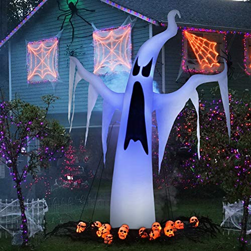 INTEY Inflatable Halloween Decoration 7 FT Tall Scary Blow up Halloween Inflatable Ghost with LED Ideas for Indoor Outdoor Party Yard