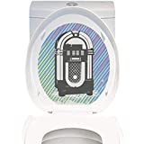Toilet Sticker Themeative Print Jukebox Radio Party Dark Grey Vintage Music Box with Abstract Grunge Colorful Stripes Image ES Multicolor. Home Decor Applique Papers W14 x L14