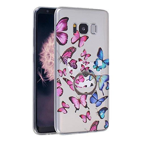 Fundas Galaxy S8, Funda Silicona Galaxy S8, Moon mood® Cubierta Suave Funda Case de Silicona TPU para Samsung Galaxy S8 SM-G9500 5.8 pulgada Slim Caso Trasero Resistente a las Rayaduras Pintura en Rel Mariposa