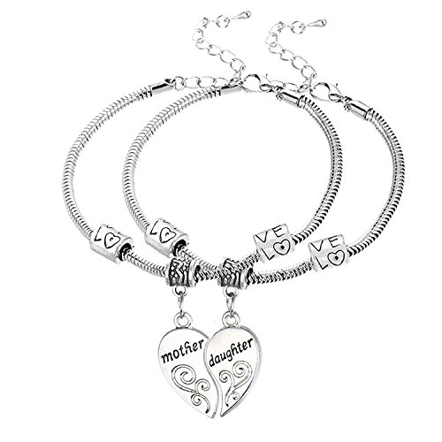 Mother Daughter Bracelet Set with Gift Box 2pcs Heart Charms Cuff Jewelry Set Gift for Mom (Belle Set Bracelet)
