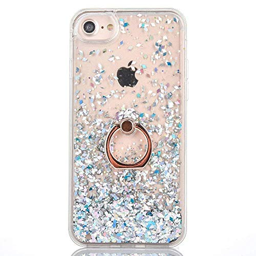 itter Case Compatible for iPhone X 10 Waterfall Phone Case for Girls Bling Quicksand Clear Protective Case with Ring Holder Kickstand (Silver, iPhone X) ()