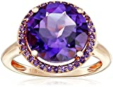Sterling Silver with Pink Gold Plating Amethyst Round Ring, Size 7