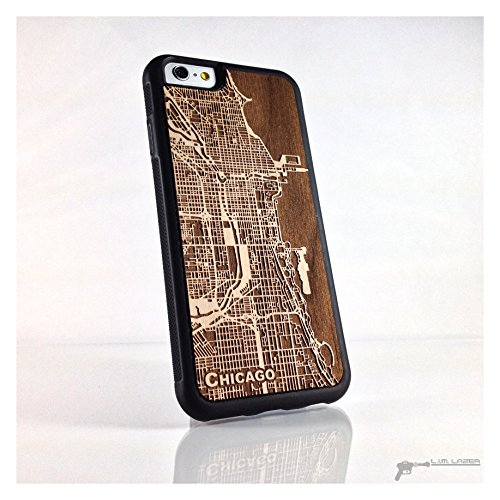 Chicago Wood Map Phone Case for iPhone 7, Iphone 6, 5, SE, Custom Maps