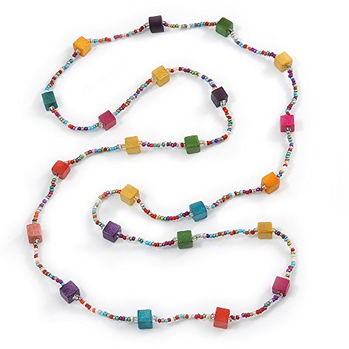 Avalaya Long Multicoloured Tiny Round Glass and Cube Wood Bead Necklace - 126cm L