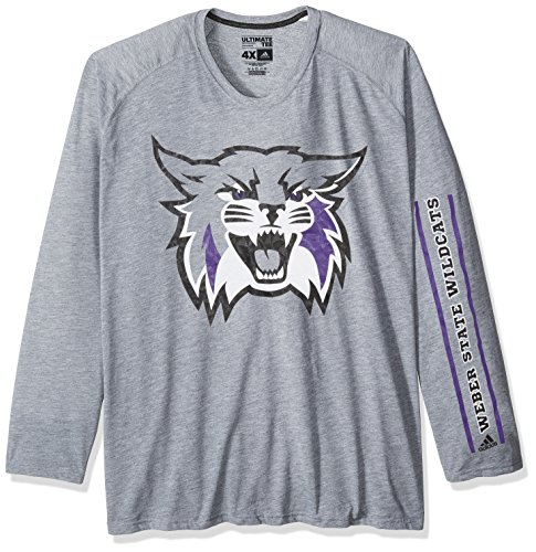 adidas NCAA Weber State Wildcats Adult Men Sleeve Play Ultimate L/S Tee, Large, Medium Grey Heather
