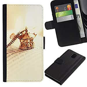 KingStore / Leather Etui en cuir / Samsung Galaxy Note 3 III / Clip collar de oro libro Cartas de lectura