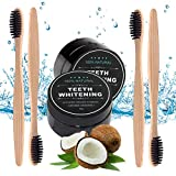 Charcoal Teeth Whitening Powder 2 Packs - Coconut Activated Charcoal - Effective Teeth Whitener With 4 Packs Bamboo Toothbrush - Bamboo Toothbrush 4 PACK