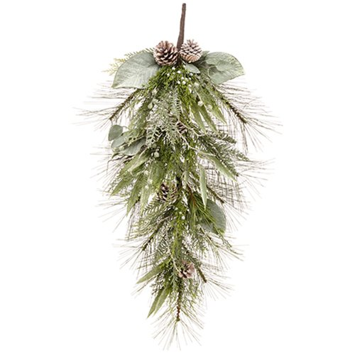 34'' Long Needle Pine, Pinecone, Leaf & Cedar Artificial Teardrop Swag -Green/Frosted (pack of 2) by SilksAreForever