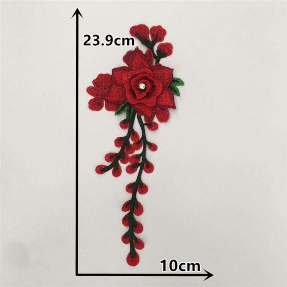 Collar de encaje con apliques bordados Escote de tela de costura DIY Zapatos de diamantes de imitación de perlas ABS Accesorios de decoración de ropa de flores, 1PCS