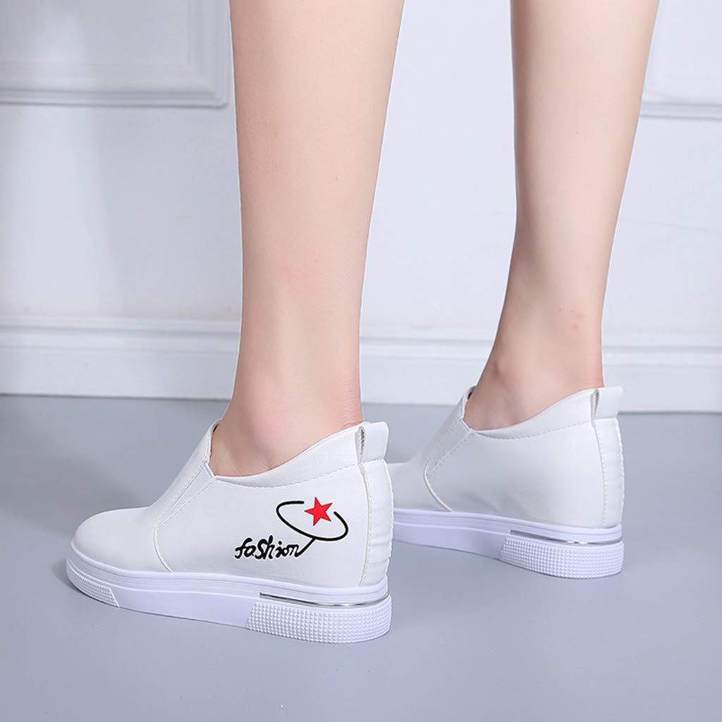 2019 New Women's Shoes, Claystyle Pu Solid Color Straps Casual Sports Shoes Thick Bottom Invisible Heightening Shoes White by Claystyle Shoes (Image #3)