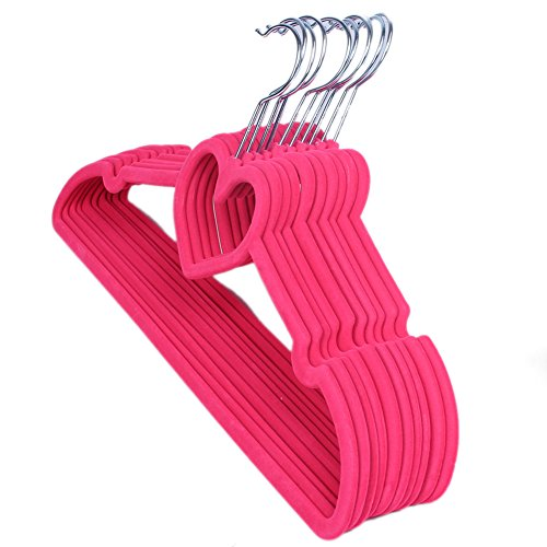 10 Pieces Non-Slip Thin Clothes Hanger Heart-shaped and Space-Saving, 16-inch Long Garment Hanger Ideal for Kids, Girls, Children Skirts, Adult Shirts, Dresses, Tank Tops, Slacks, Pants (Rose Red) ()