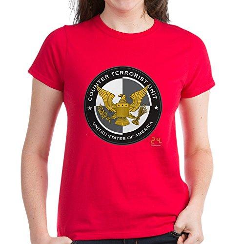 CafePress - 24 CTU Logo Women's Dark T-Shirt - Womens Cotton T-Shirt Red ()