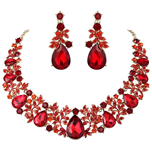 (BriLove Women's Wedding Bridal Statement Necklace Dangle Earrings Jewelry Set with Crystal Cluster Leaf Vine Teardrop Ruby Color Gold-Tone)