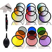 Opteka 19-Piece Graduated and Solid Color Filter Kit for Canon EOS 70D, 60D, 50D, 1Ds, 7D, 6D, 5D, 5DS, T6s, T6i, T5i, T5, T4i, T3i, T3, T2i and SL1 Digital SLR Cameras (Fits 52mm and 58mm Threads)