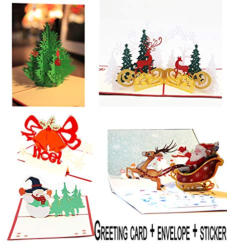 (Christmas Cards 3D Pop Up Handmade Holiday Greeting Cards From Women, Wife, Girls, Husband, friend - 5)