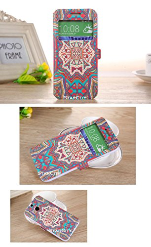 HTC One M8 Case, StarCity ® HTC One M8 Case [Smart Window View] [Stand Feature] - Premium Slim Flip Cover Folio Case with View Window for HTC One M8 (Smart Window View Series_Tribal Pattern)