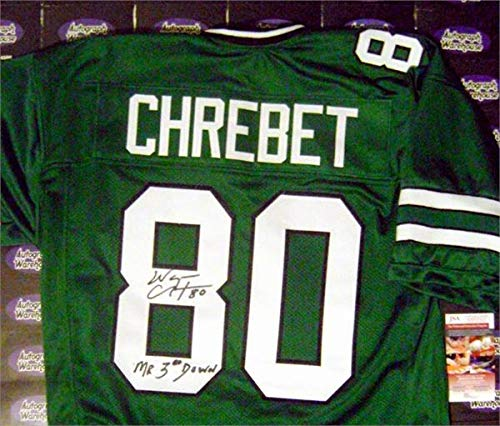 Autographed Wayne Chrebet Jersey - Green inscribed Mr 3rd Down JSA - Autographed NFL Jerseys